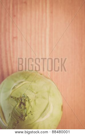 Turnip Cabbage On A Wood Surface