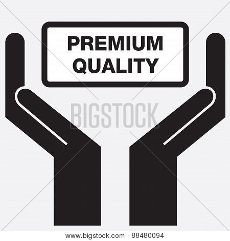 Hand showing premium quality sign icon.