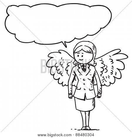 Businesswoman with wings speaking