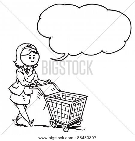 Businesswoman pushing shopping cart speaking
