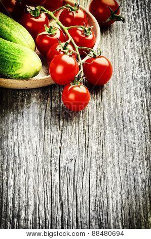 Fresh Cherry Tomatoes And Cucumbers