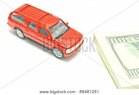 Red Car And Dollar Notes