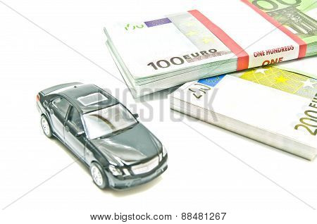 Black Car On Euro Notes On White