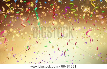 Background with confetti and streamers