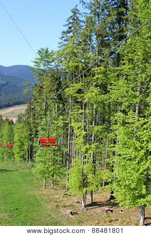 Chairs Lift On Bukovel Ski Resort In Spring, Carpathian Mountains, Ukraine