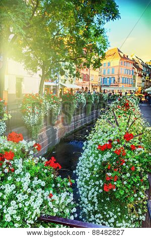 Cityscape Of Colmar At Summer Day. Alsace, France