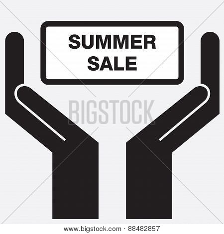 Hand showing summer sale sign icon.