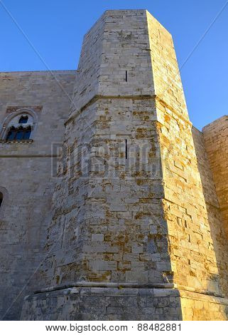 An octagonal tower of Castel del Monte Apulia Italy