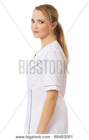 Young female doctor or nurse.