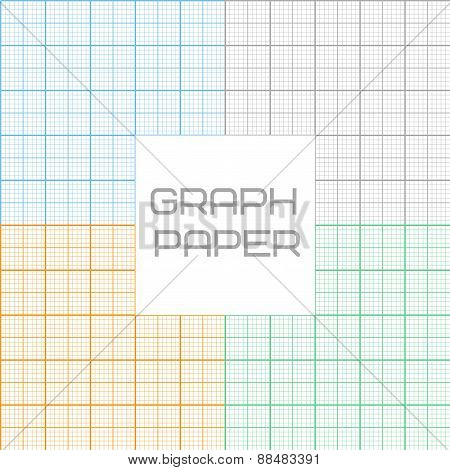 Vector graph millimeter paper seamless pattern set