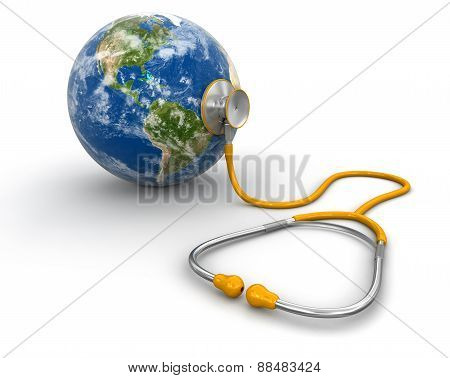 stethoscope and globe (clipping path included)