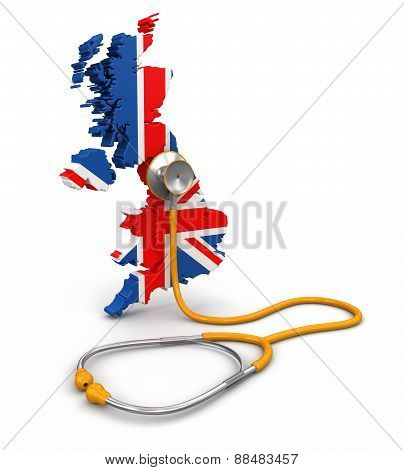 Map of United Kingdom with Stethoscope (clipping path included)
