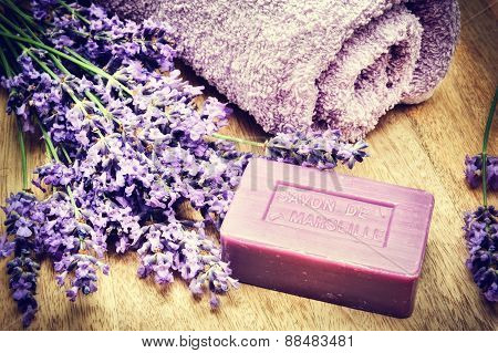 Rustic Setting With Natural Soap And Fresh Lavender
