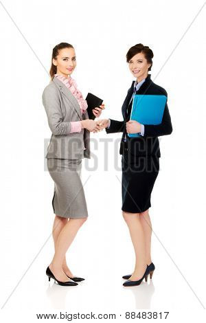Beautiful two businesswomen giving handshake.