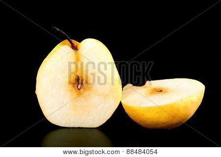 Fresh Nashi Pear And  Cut On Black Background