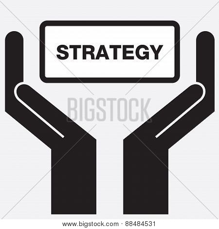 Hand showing strategy sign icon.