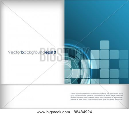 Blue and white vector abstract technology background