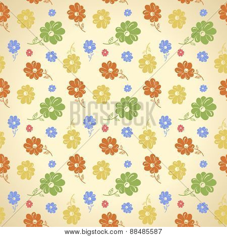 flower pattern. Seamless background. Green yellow blue red wallpaper