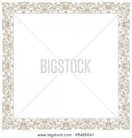 Vintage decorative framework. Illustration isolated in white square