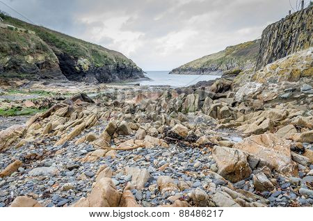 Along the coast around Port Quin in cornwall England UK
