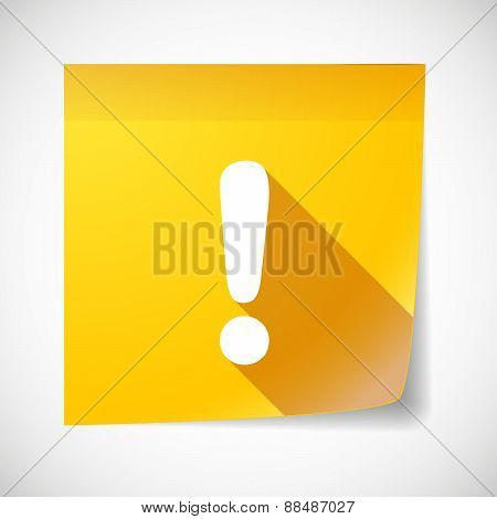 Sticky Note Icon With An Exclamation Sign