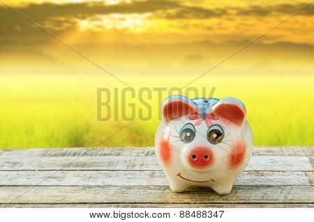 Piggy Bank On Wooden Table Over Blurred Sky Sunset Background.