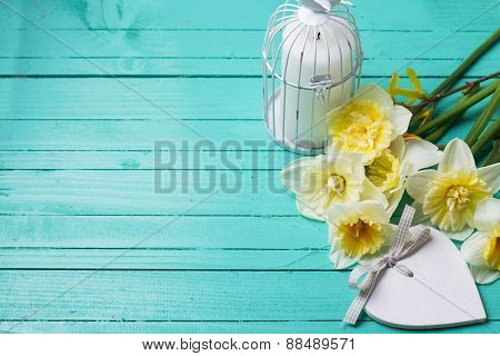 Background With Fresh Daffodils  And Candle In Decorative Cage