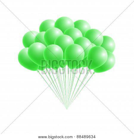 Vector Bunch Birthday Or Party Green Balloons