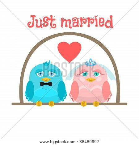Just Married. Cute Birds - The Bride And Groom. Greeting Card.