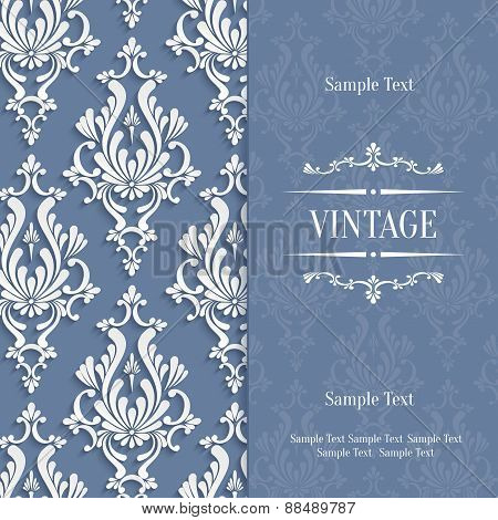 Vector Grey 3D Vintage Invitation Card With Floral Damask Pattern