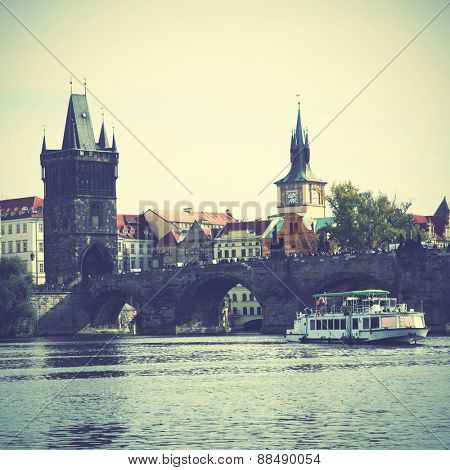 Vltava river in Prague. Instagram style filtred image