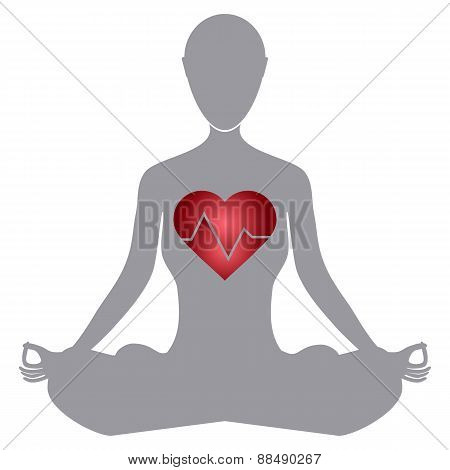 Heartbeat Make A Yoga Girl And Heart Symbol Stock Vector