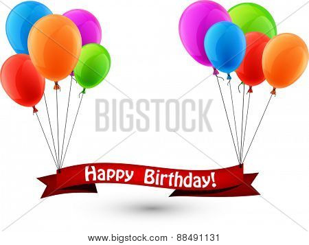Happy birthday paper ribbon background with balloons. Vector illustration.