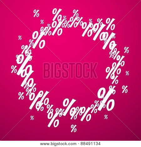 Percent round background. Promotion coupon. Vector illustration.