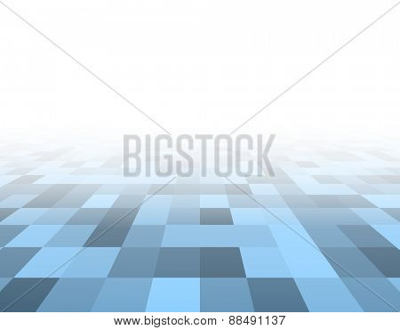 Perspective blue and white grid. Checkered surface. Vector illustration.