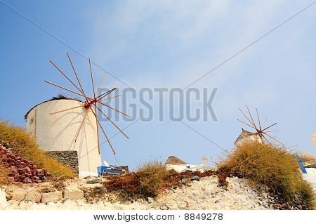 Windmills In Santorini Greece
