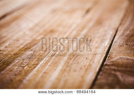 Wooden table in extreme close up