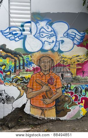Political Graffiti Of Young Man Surrounded By Environmental Disasters.