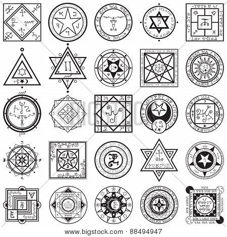 Set Of Magic And Alchemy Sigils Vectors
