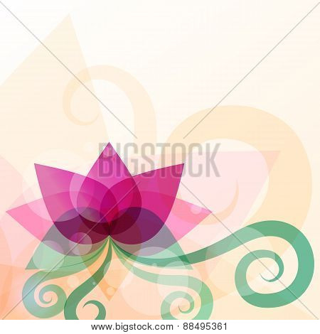 Beautiful Lotus Flower Illustration. Vector Abstract Background. Design Concept For Beauty Salon, Ma