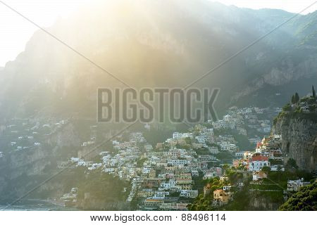 Positano Panoramic View In A Sunny Day, Amalfi Coast