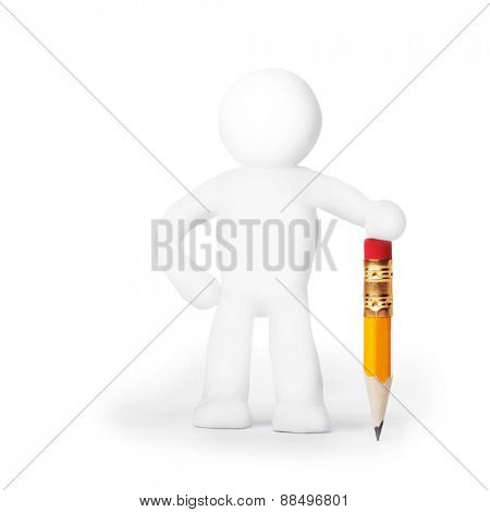Plasticine man with pencil isolated on white background