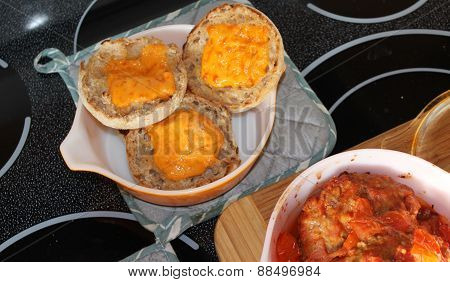 Toasted English muffin with cheddar