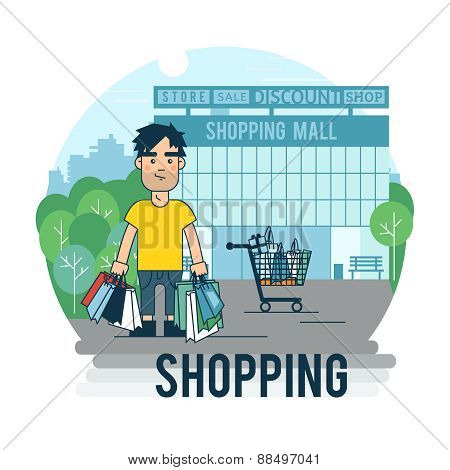 A man makes a purchase.
