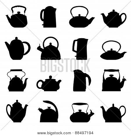 Vector vintage logo teapot set isolated