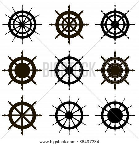 Vector steering wheel set isolated on white. Sea theme.