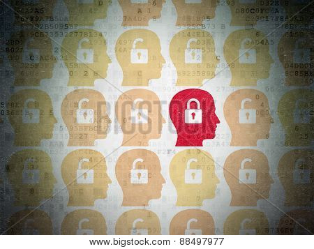 Security concept: head with padlock icon on Digital Paper