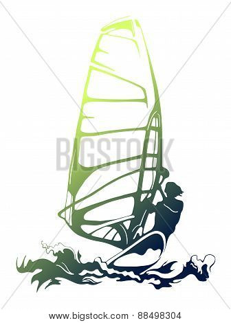 Vector color silhouette of windsurfer on gliding isolated on white