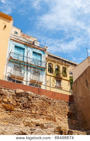 Colorful Living Houses. Street View Of Tarragona
