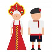 picture of national costume  - russian man and woman in the national costumes - JPG